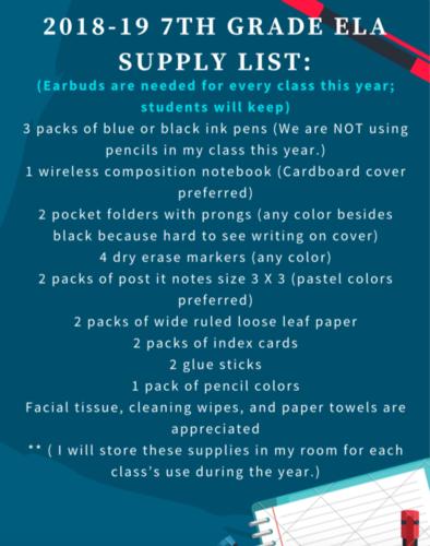 2018-19 supply list