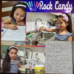 collage of girl making rock candy