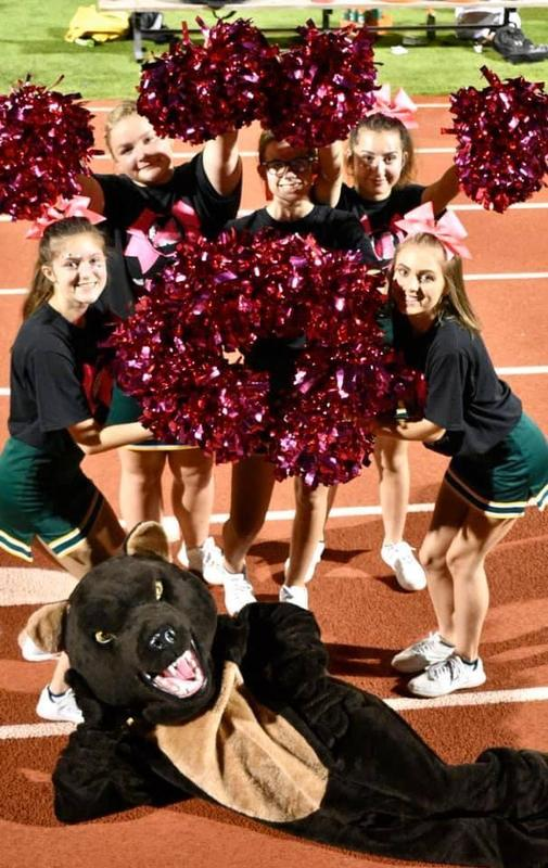 jv cheer with mascot