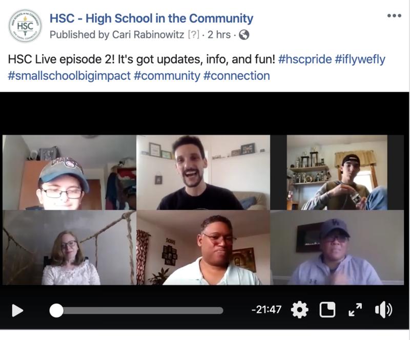 Screenshot of six people having a video chat