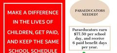 top of the flyer stating Paraeducators Needed!