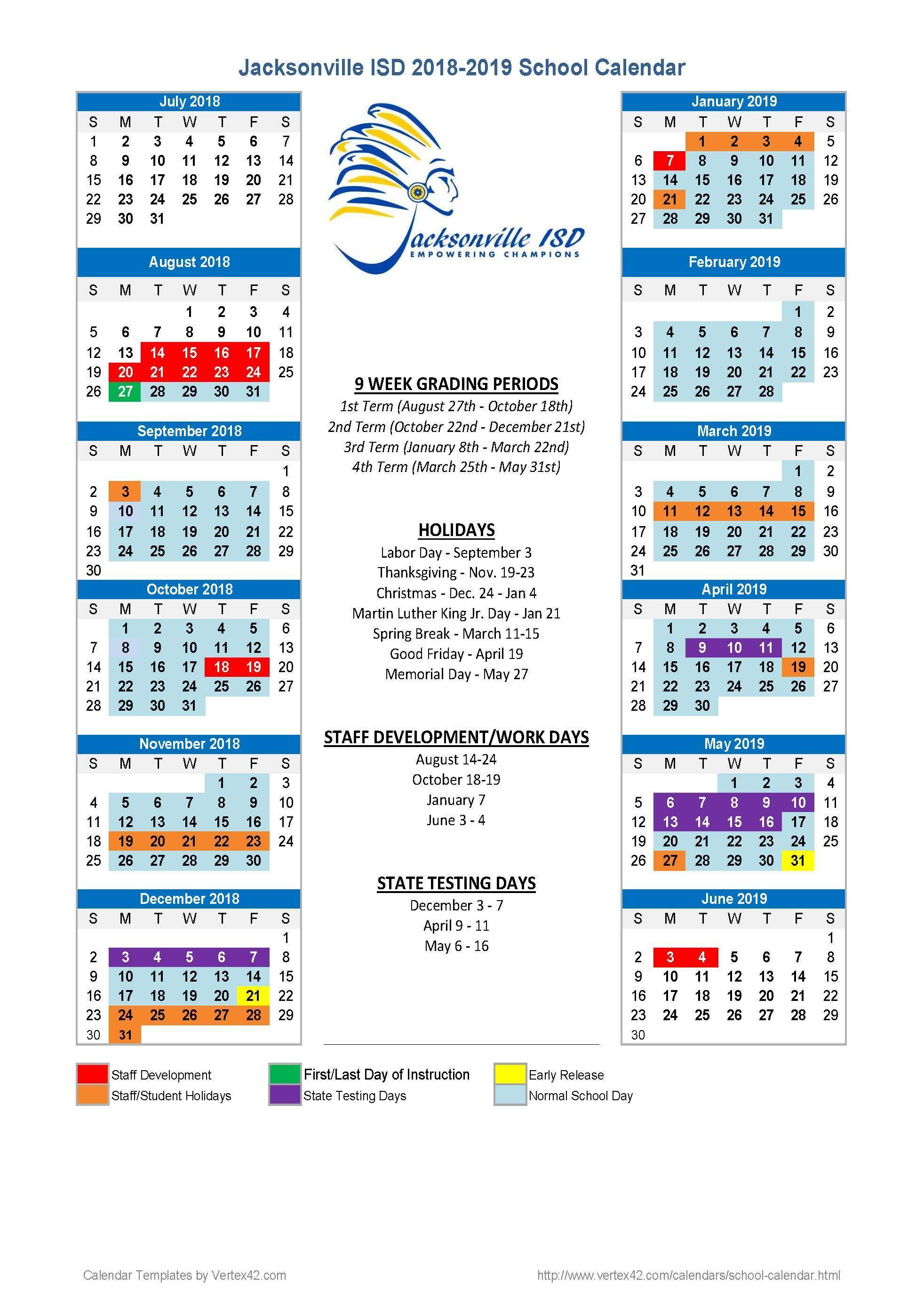 School calendar for 2018-19