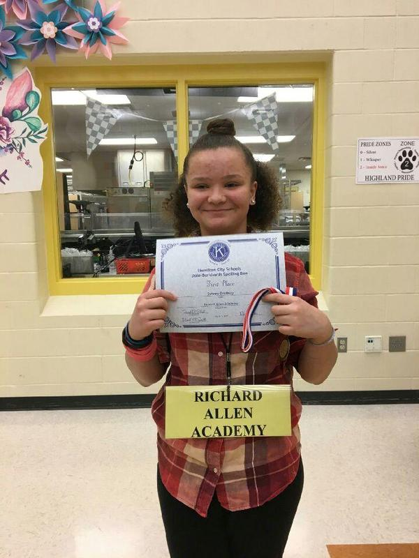 Congratulations, to our very own Samone Bradbury! 1st Place Hamilton city Spelling Bee! Featured Photo