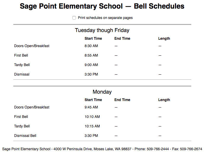 Sage Point ES Bell Schedule (Text version available on Sage Point website)
