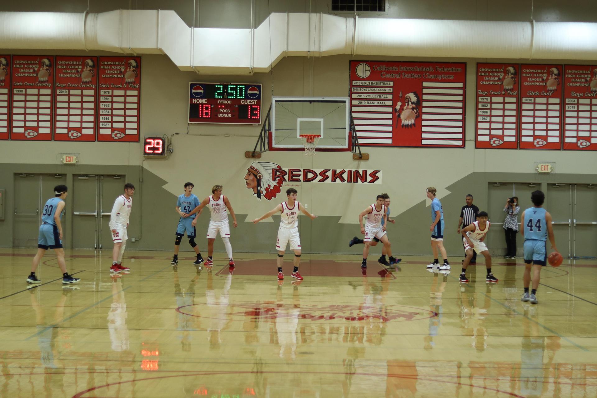 Boys Basketball playing against Yosemite