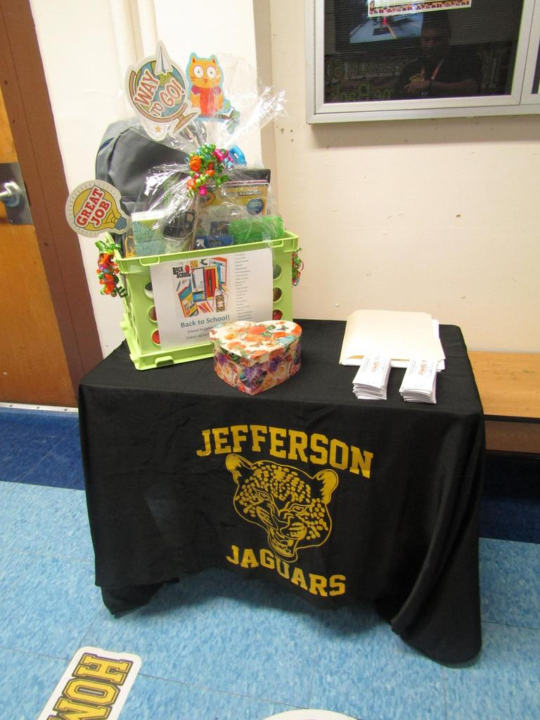 back to school night pto raffle basket display