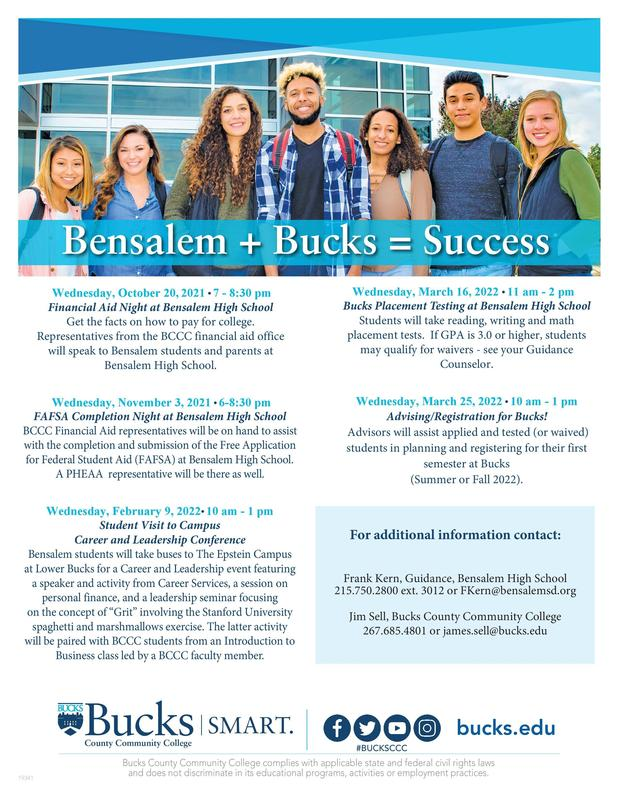 Flyer for Bensalem seniors and juniors and their parents advertising upcoming events to prepare for college