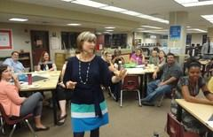 Superintendent, Christi Barrett listens and shares with the DVMS staff .