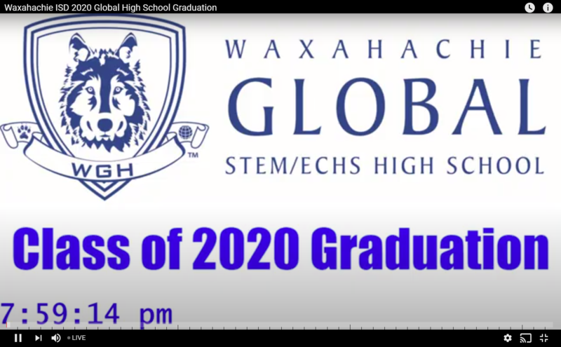 title card for GHS graduation ceremony on YouTube