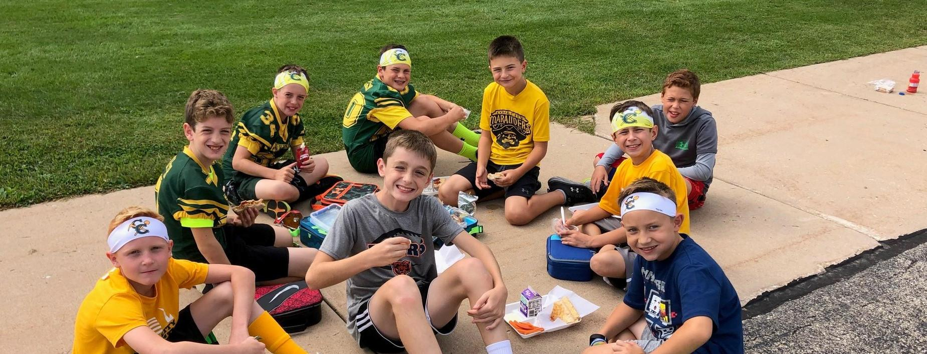 enjoying the beautiful weather outside during lunch at CCIS