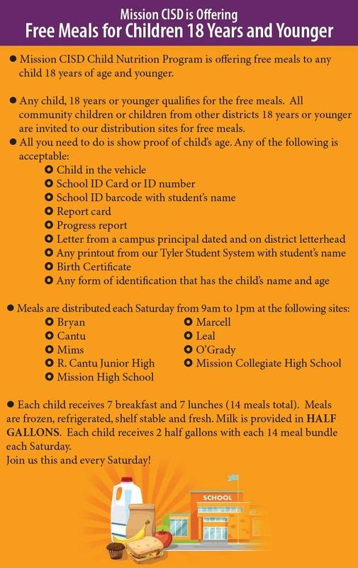 MCISD Child Nutrition Program Featured Photo