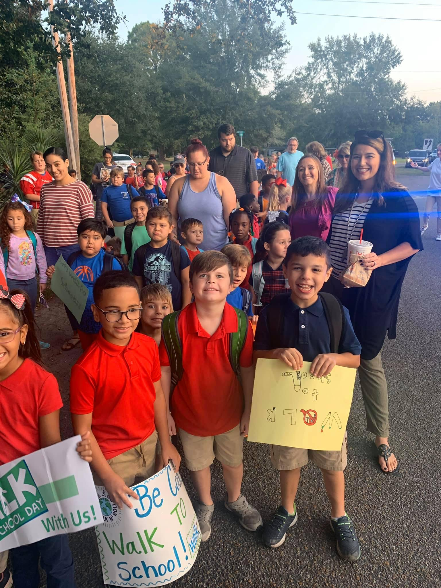 students ready to walk to school