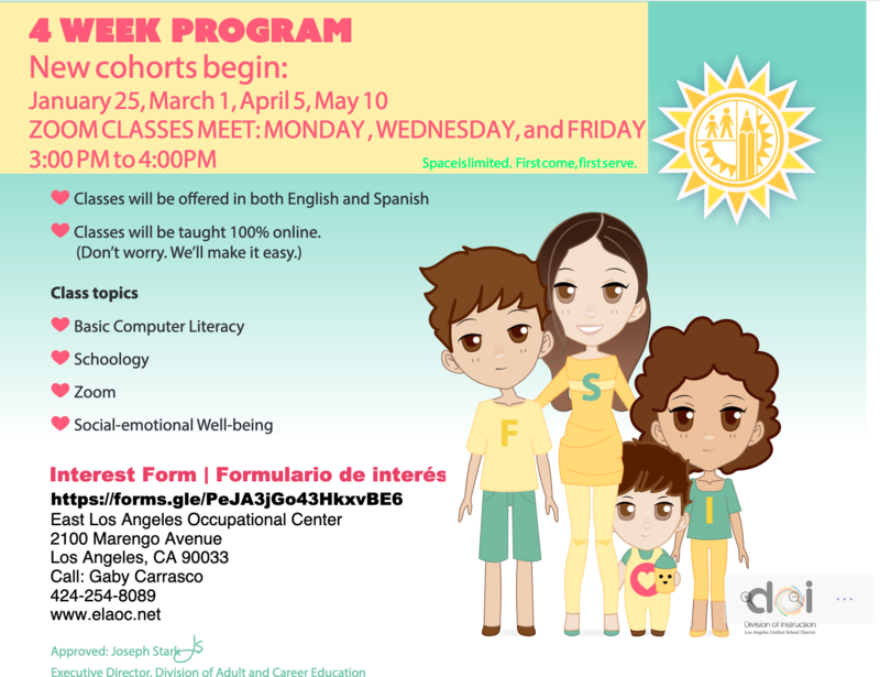 Free Parent Computer Training Offered by LAUSD Beginning on January 25th!/¡LAUSD ofrece capacitación gratuita en computadoras para padres a partir del 25 de enero! Featured Photo
