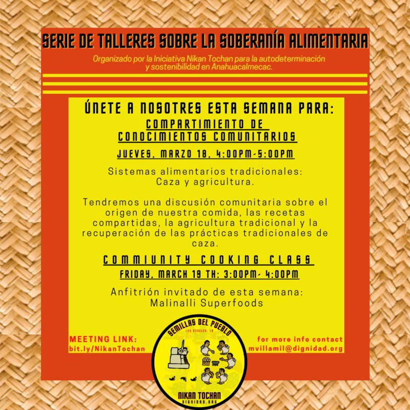 Serie de Talleres Sobre la Soberanía Alimentaria de Esta Semana Featured Photo
