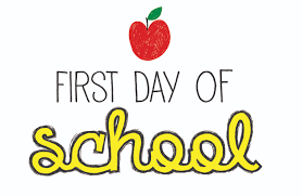 First day of school sign with colored letters and apple above