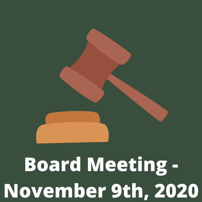 Gavel with text 'Board Meeting - November 9th, 2020'