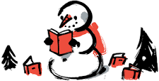 snowman reading book