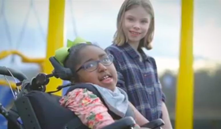 Charlotte (L) and Camille (R) on the inclusive playground at Rocky Fork Elementary