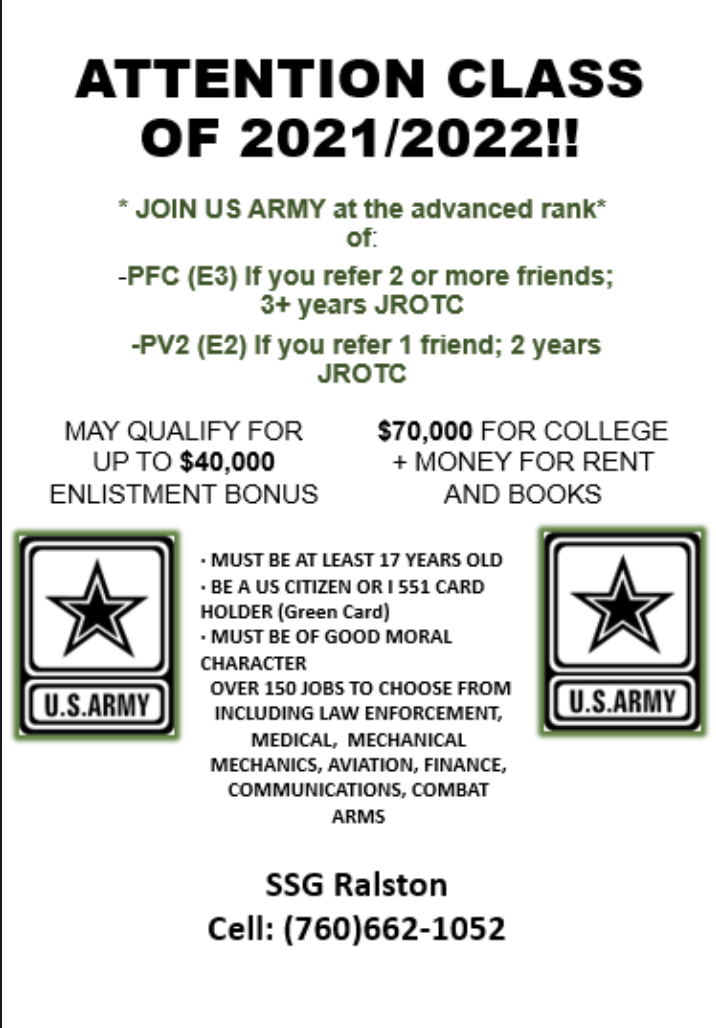 Army Enlistment Referral Bonus