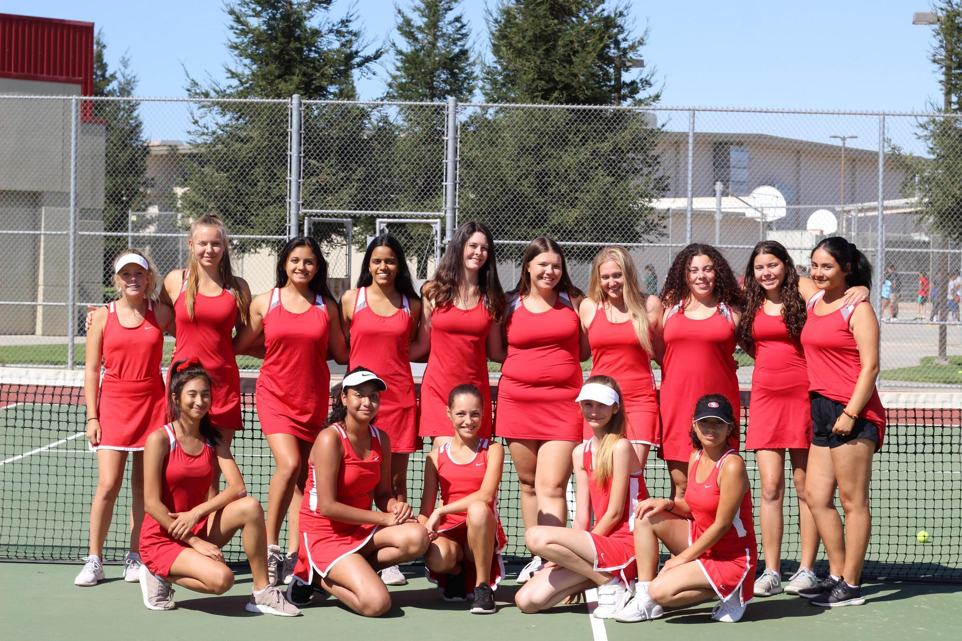 Girls Tennis team posing