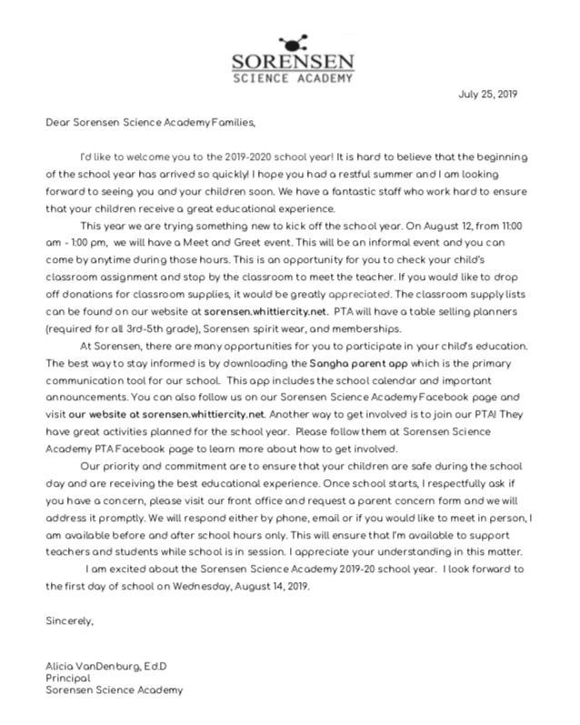 principal welcome letter