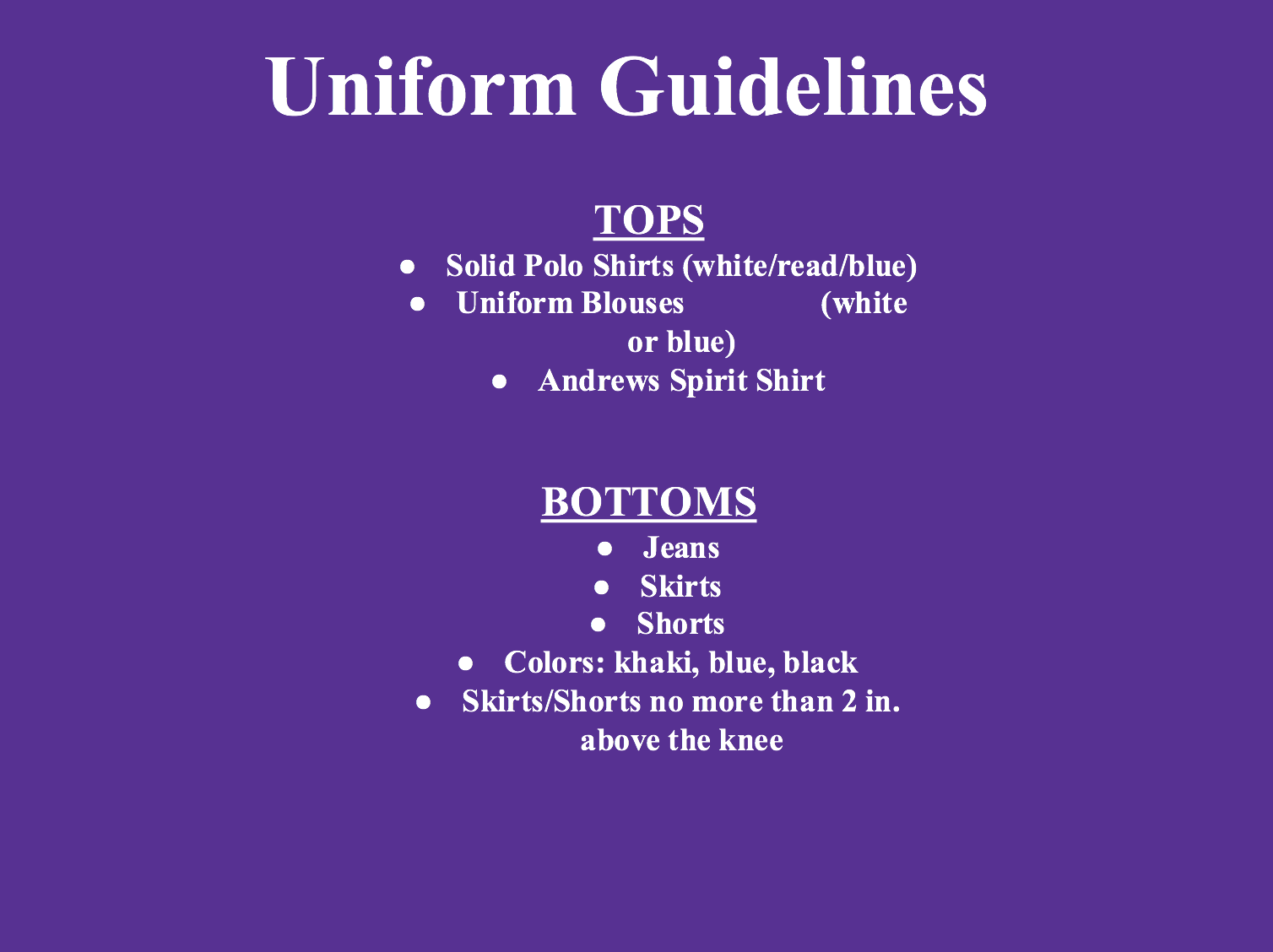 School Uniform Dress policy