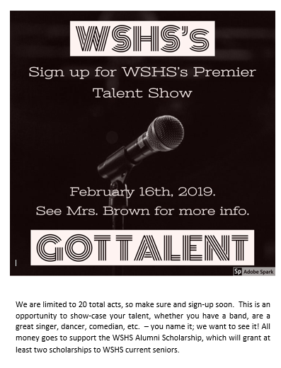 WSHS's Got Talent!!  February 16th in the WSHS Auditorium Featured Photo
