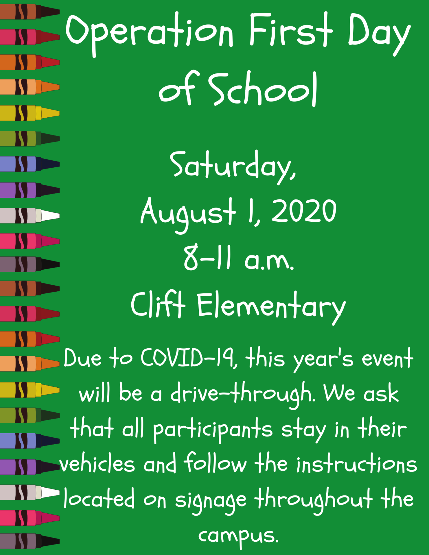 graphic with operation first day of school details