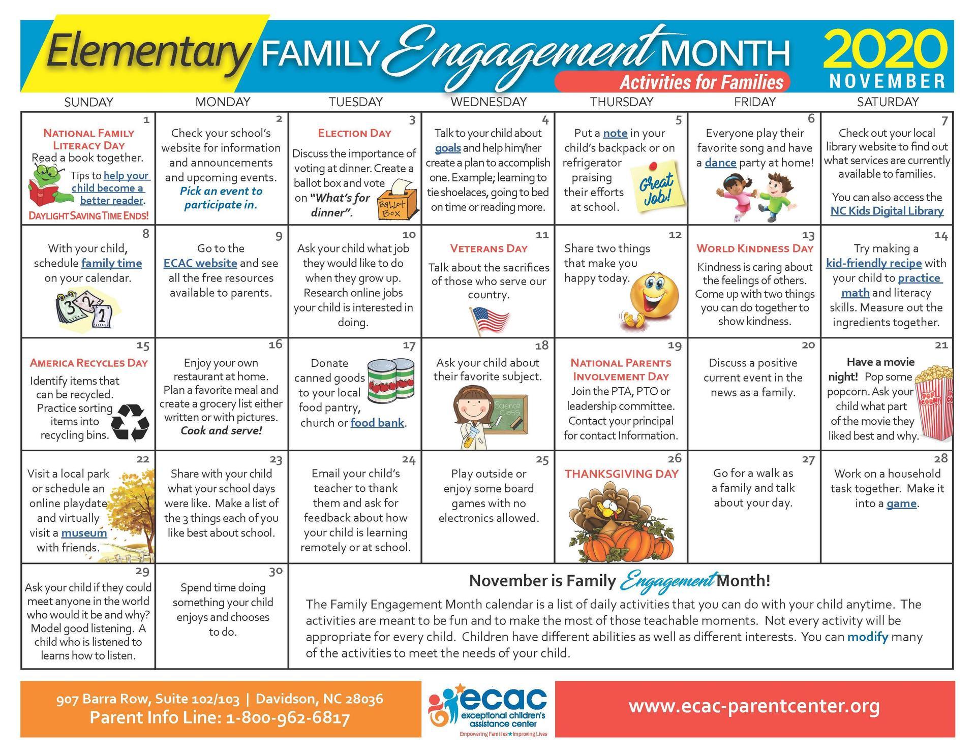 Elementary - Family Engagement Calendar