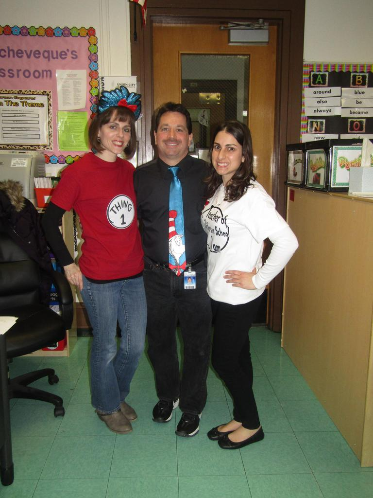 mr. celebrano and two female teachers