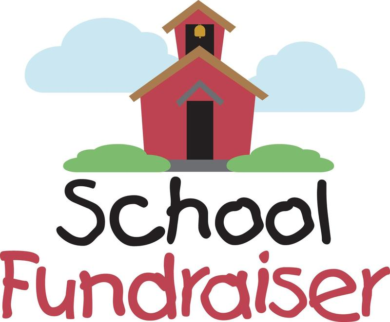 school house with clouds text that reads school fundraiser