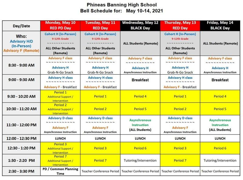 Bell Schedule for the week of May 10 - May 14, 2021 Featured Photo