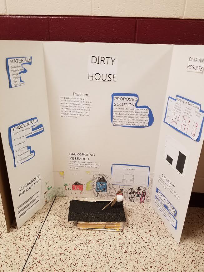 Science fair board, project called Dirty House