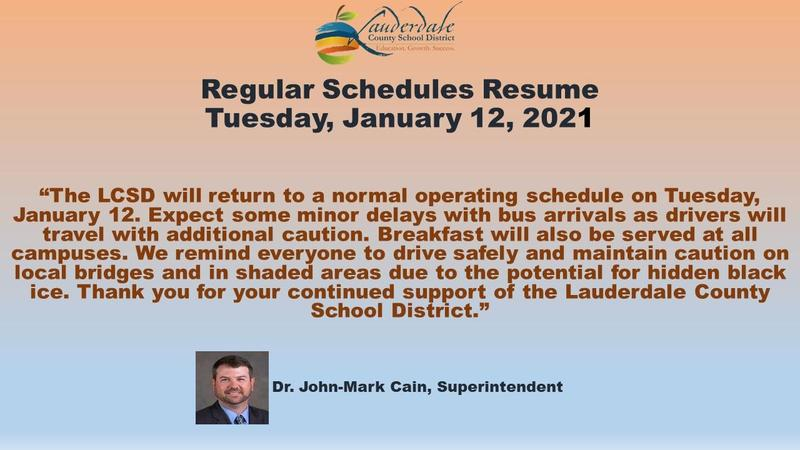 Supt. Cain's Regular Schedule Resumes Message