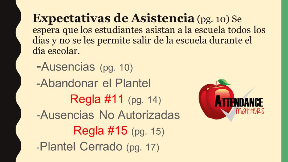 attendance policy power point slide (spanish)