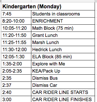 Image of KIndergarten enrichment schedule