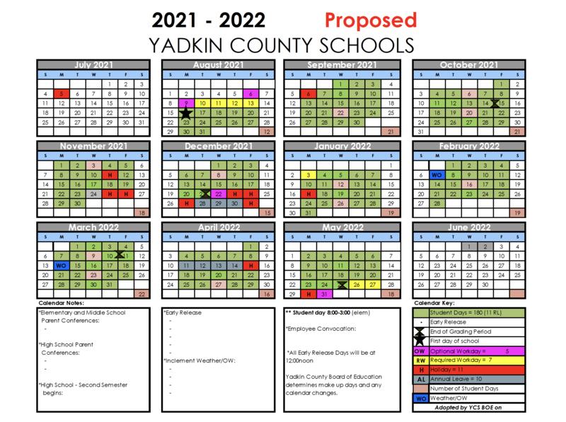 Information Regarding the Proposed 2021-2022 Calendar Thumbnail Image