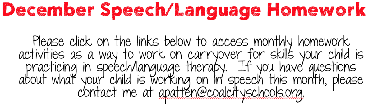 speech therapy homework