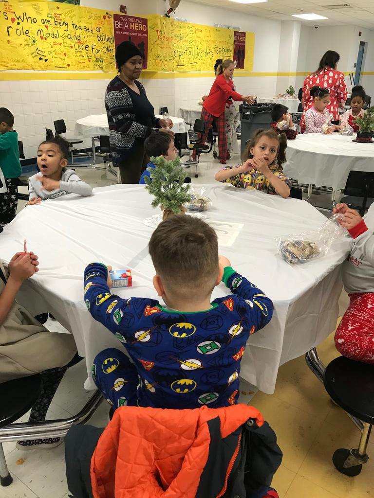 table of 1st grader waiting for santa