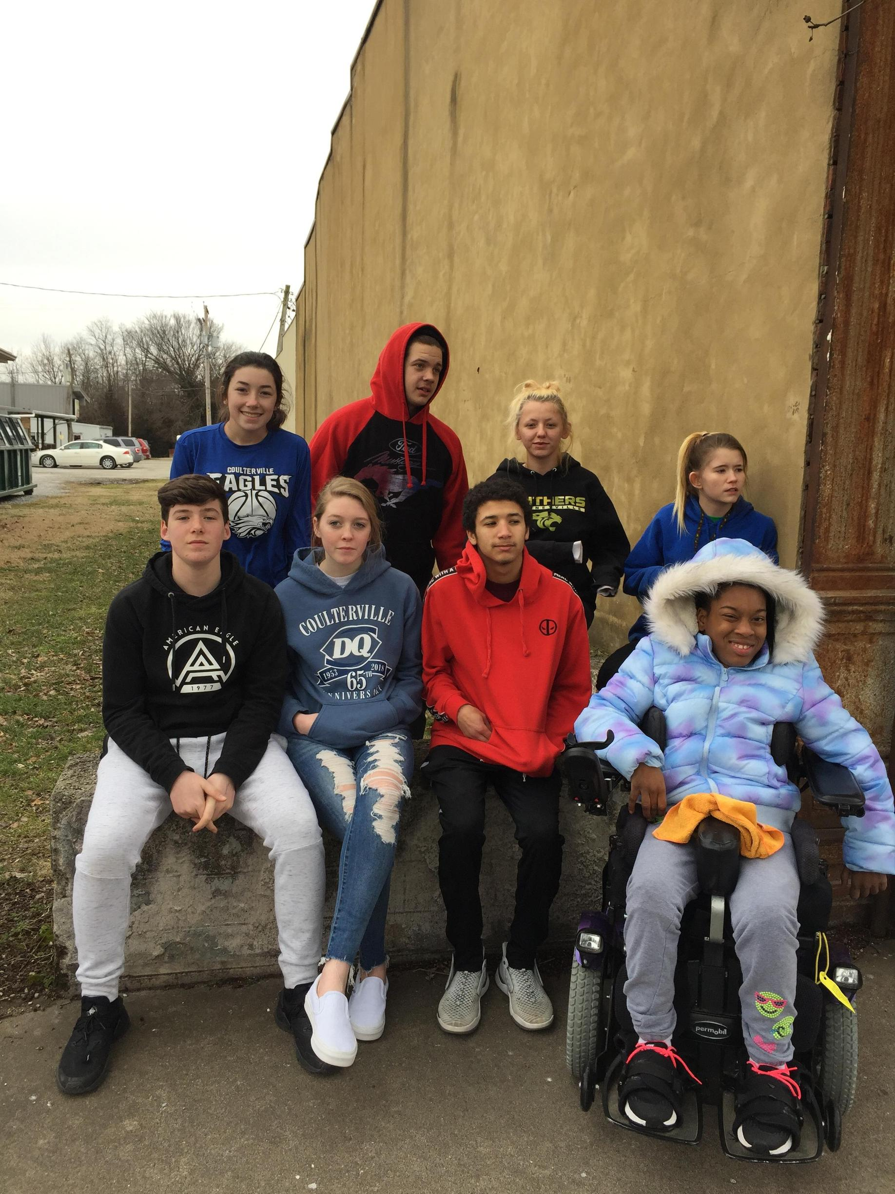 Civics Class visits wall remnant of Roxy Theater