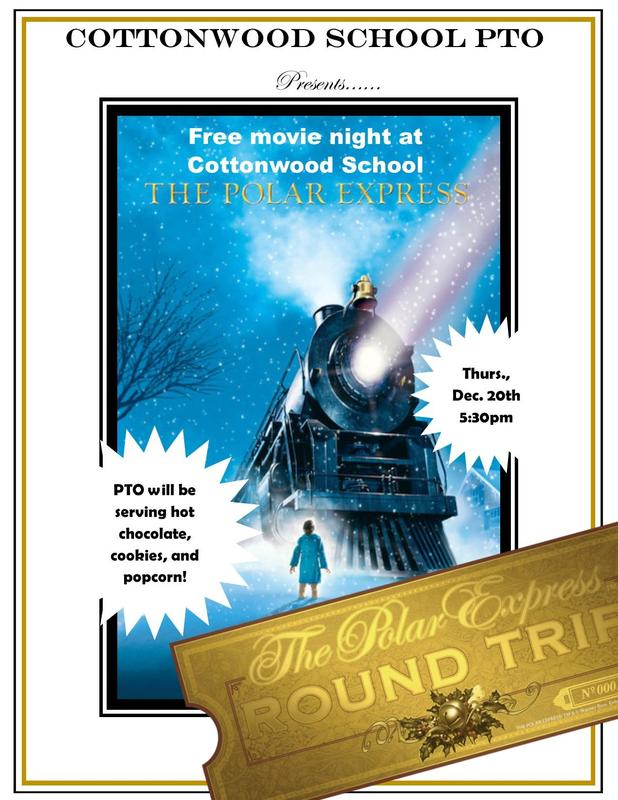 Polar Express Movie Night on December 20th at 5:30 sponsored by the PTO.