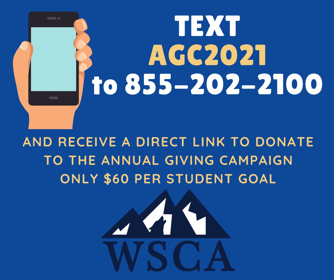Text AGC2021 to 855-202-2100