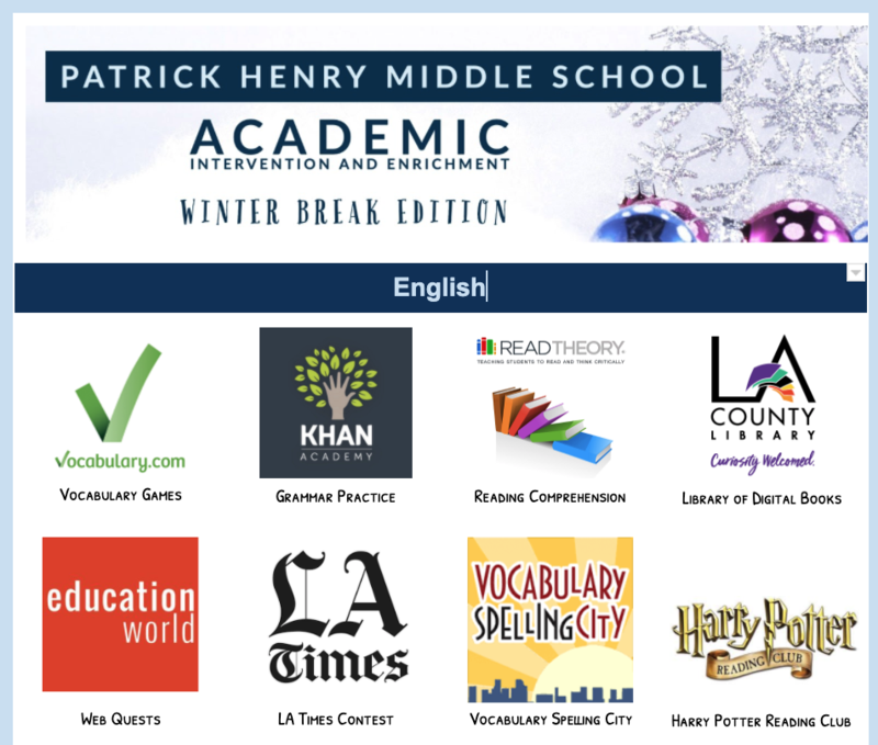PHMS Winter Break Academic Support and Enrichment Resources Featured Photo