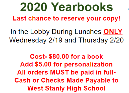 Last Chance to Reserve Your Copy of the WSHS 2020 Yearbook!! Featured Photo