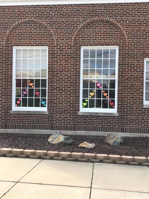 hearts in window
