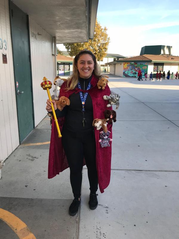 a staff member in costume