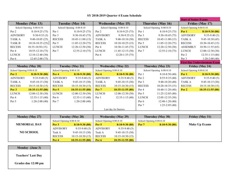 Qtr. 4 Final Exam Schedule Featured Photo