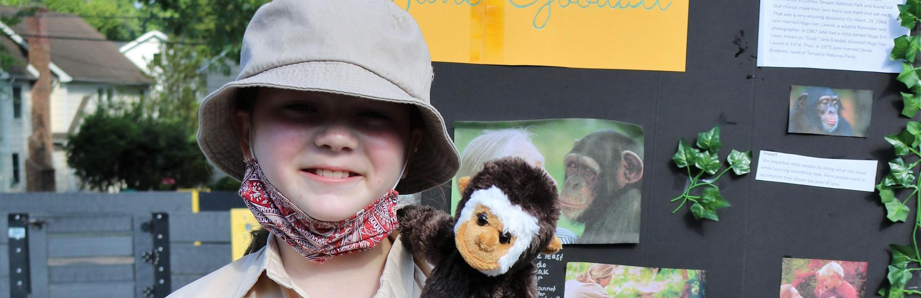 Photo of Wilson 5th grader dressed as Jane Goodall during Grade 5 Wax Museum