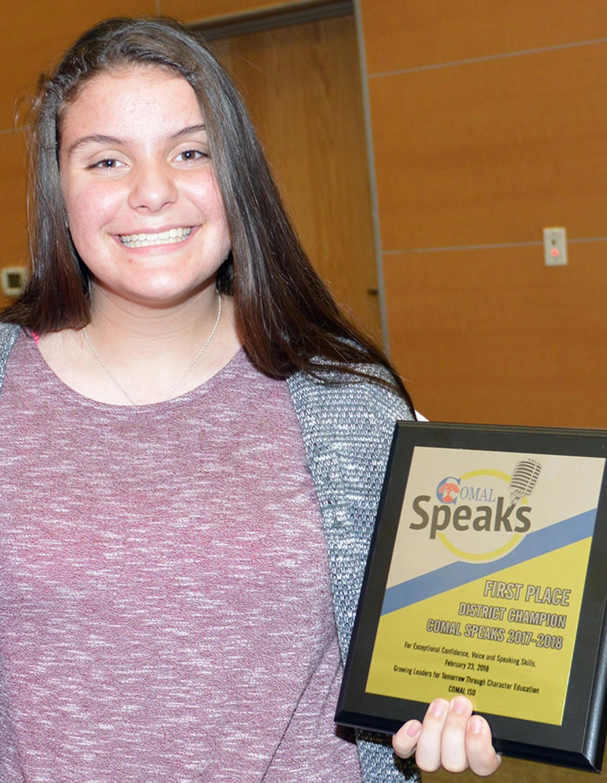 Comal Speaks 2018 Champion