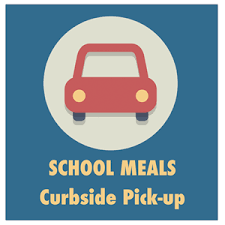 picture of a car and the words school meals pick up
